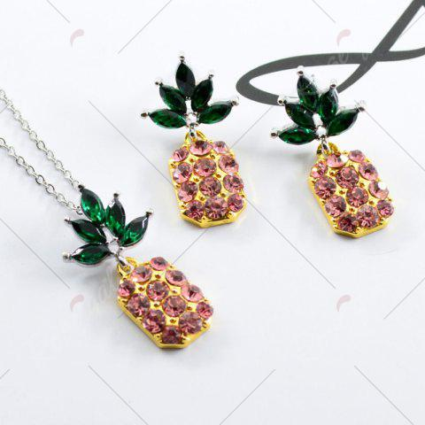 Online Rhinestone Pineapple Earring and Necklace Set - PINK  Mobile