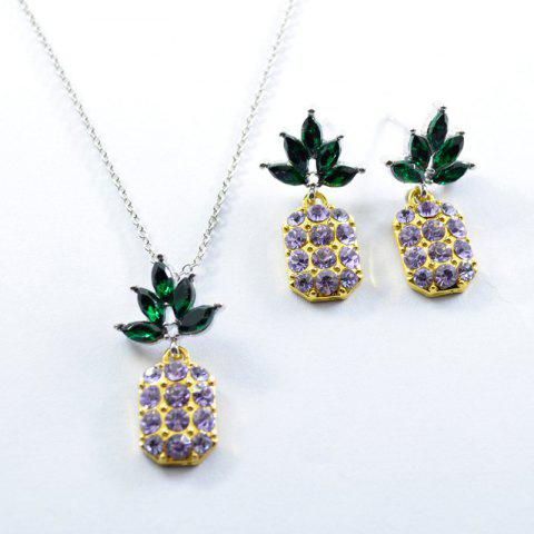 Online Rhinestone Pineapple Earring and Necklace Set PURPLE