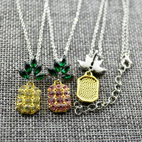 Affordable Rhinestone Pineapple Earring and Necklace Set - PURPLE  Mobile