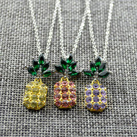 Latest Rhinestone Pineapple Earring and Necklace Set - PURPLE  Mobile