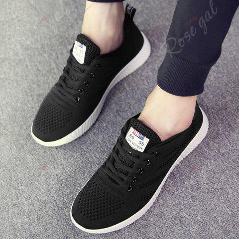 Affordable Tie Up Breathable Casual Shoes - 43 BLACK Mobile
