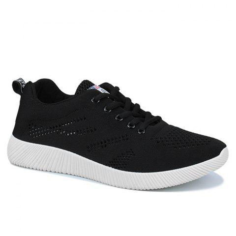 Hot Tie Up Breathable Casual Shoes - 43 BLACK Mobile