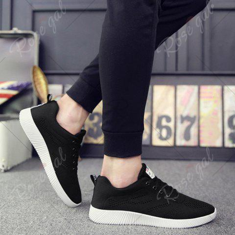Fashion Tie Up Breathable Casual Shoes - 43 BLACK Mobile