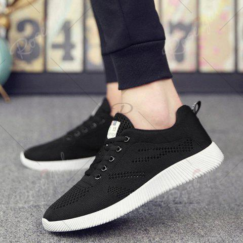 Latest Tie Up Breathable Casual Shoes - 43 BLACK Mobile
