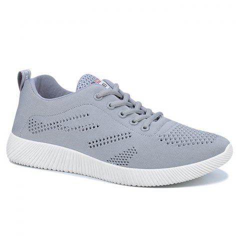 Tie Up Breathable Casual Shoes - Gray - 40