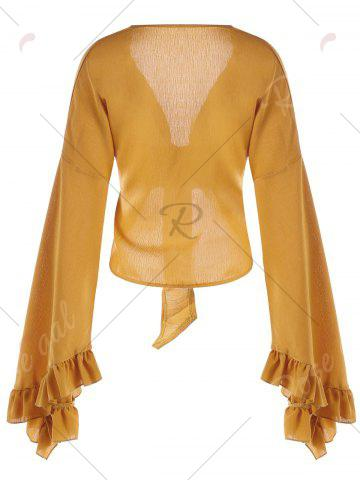 Online Plunge Ruffled Bowknot Bell Sleeve Blouse - M BRIGHT ORANGE Mobile