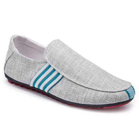 Sale Stripe Trim Slip On Casual Shoes - 43 GRAY Mobile