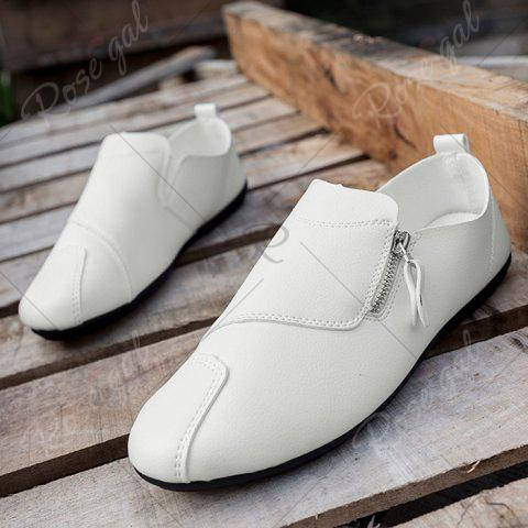 Affordable Zip Faux Leather Slip On Shoes - 40 WHITE Mobile