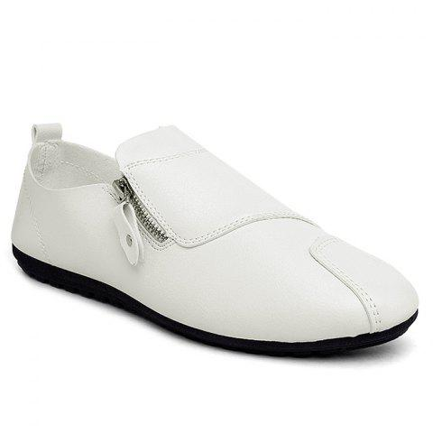 Zip Faux Leather Slip On Shoes - White - 44