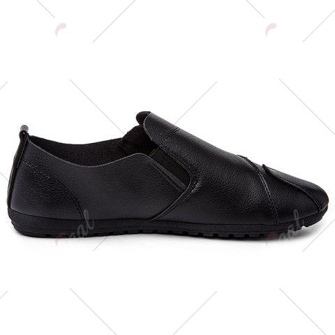 Discount Zip Faux Leather Slip On Shoes - 43 BLACK Mobile