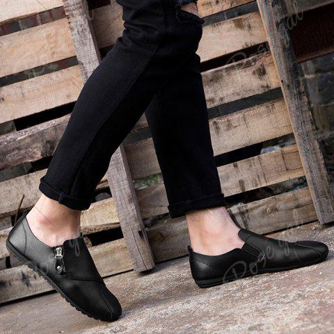 Buy Zip Faux Leather Slip On Shoes - 43 BLACK Mobile