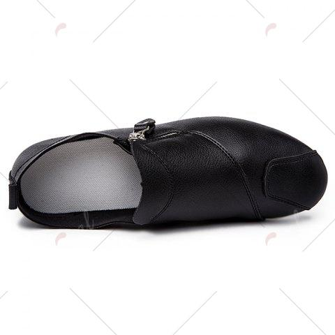 Affordable Zip Faux Leather Slip On Shoes - 43 BLACK Mobile