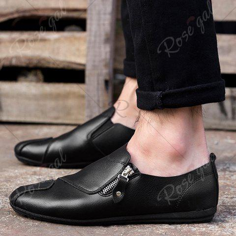 Store Zip Faux Leather Slip On Shoes - 43 BLACK Mobile