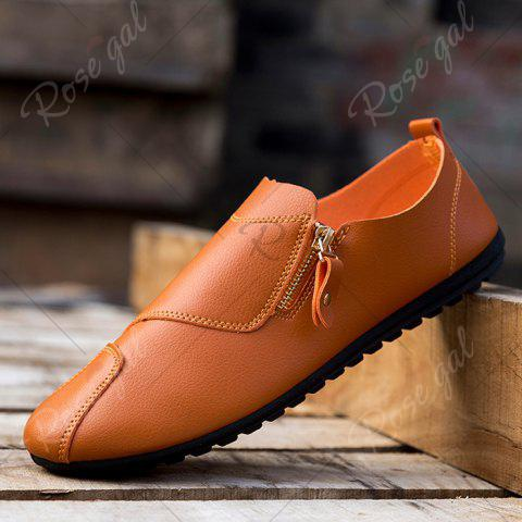 Affordable Zip Faux Leather Slip On Shoes - 43 BRIGHT ORANGE Mobile
