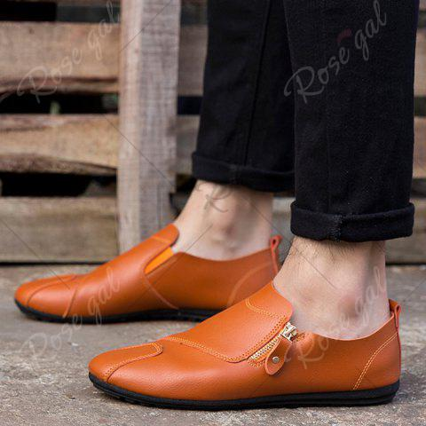 Online Zip Faux Leather Slip On Shoes - 43 BRIGHT ORANGE Mobile