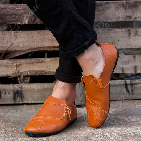 Latest Zip Faux Leather Slip On Shoes - 43 BRIGHT ORANGE Mobile