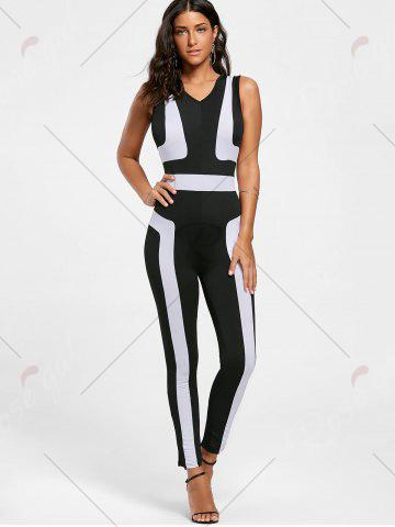 Discount Color Block Skinny Jumpsuit - S BLACK Mobile