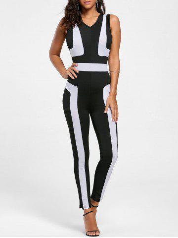 Chic Color Block Skinny Jumpsuit - S BLACK Mobile