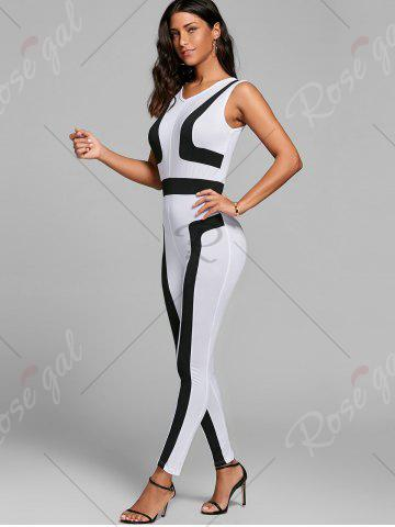 Fashion Color Block Skinny Jumpsuit - XL WHITE Mobile
