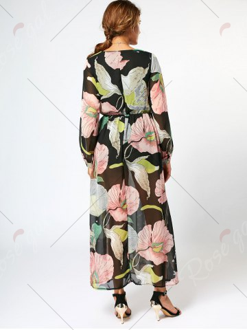 Online Long Sleeve Chiffon Maxi Flower Surplice Dress - S FLORAL Mobile