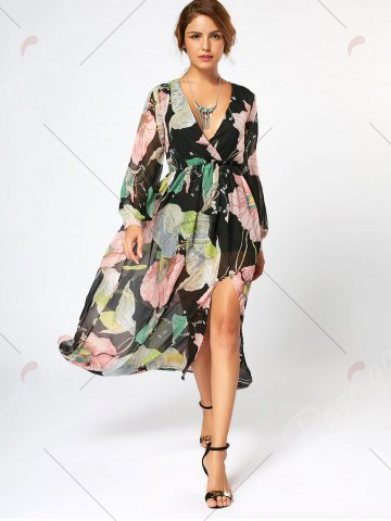 Cheap Long Sleeve Chiffon Maxi Flower Surplice Dress - S FLORAL Mobile