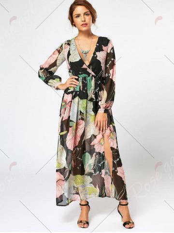 Fashion Long Sleeve Chiffon Maxi Flower Surplice Dress - S FLORAL Mobile