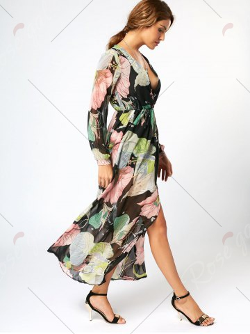 Sale Long Sleeve Chiffon Maxi Flower Surplice Dress - S FLORAL Mobile