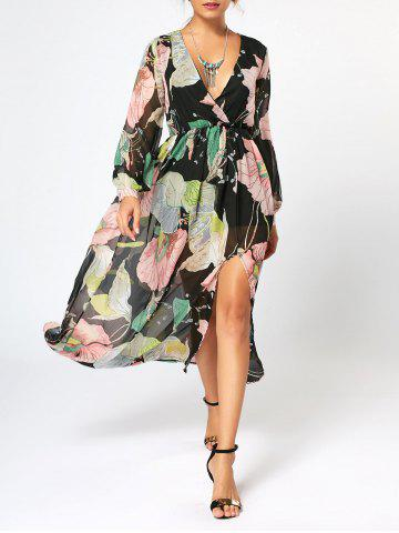 Hot Long Sleeve Chiffon Maxi Flower Surplice Dress - S FLORAL Mobile