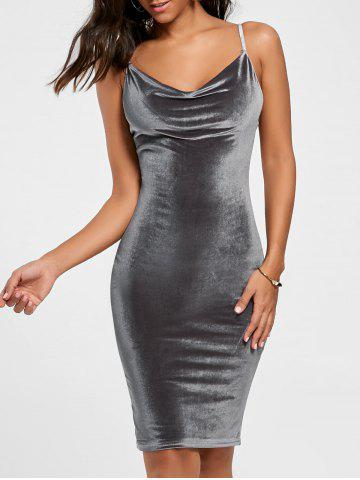 Outfits Cut Out Velvet Tight Bodycon Dress - S GRAY Mobile
