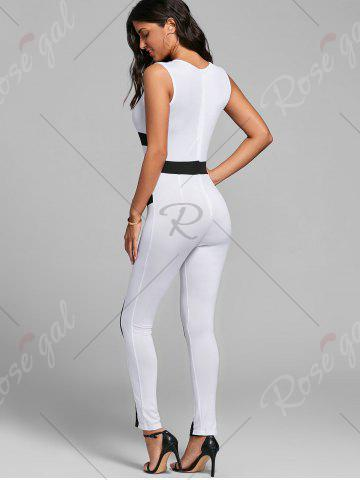 Outfit Color Block Skinny Jumpsuit - M WHITE Mobile