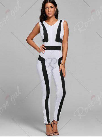Outfit Color Block Skinny Jumpsuit - S WHITE Mobile
