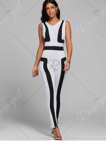 New Color Block Skinny Jumpsuit - S WHITE Mobile