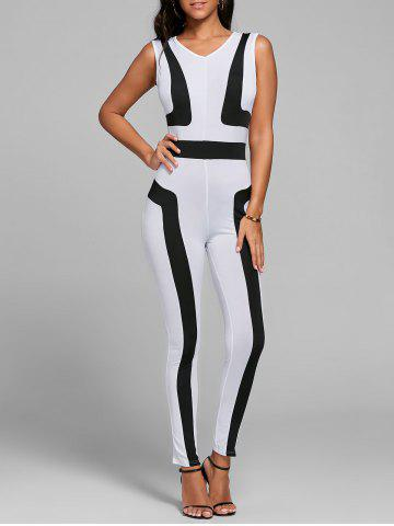 Cheap Color Block Skinny Jumpsuit - S WHITE Mobile