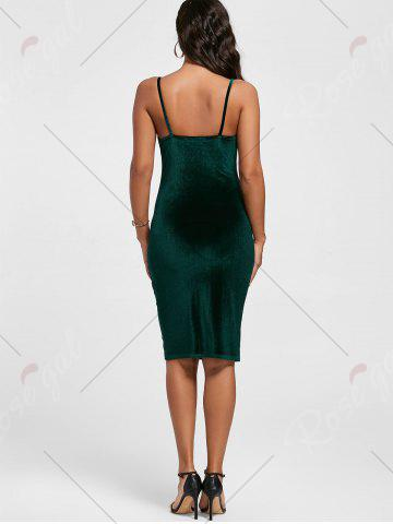 Outfits Cut Out Velvet Bodycon Dress - XL BLACKISH GREEN Mobile
