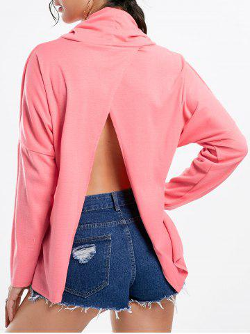 Outfits Cowl Neck Back Split T-shirt PINK S