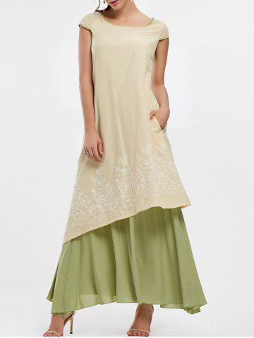 Best Asymmetrical Embroidered Linen Maxi Dress - M PALOMINO Mobile