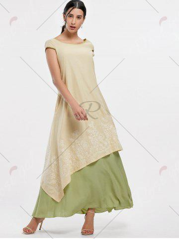 Chic Asymmetrical Embroidered Linen Maxi Dress - M PALOMINO Mobile