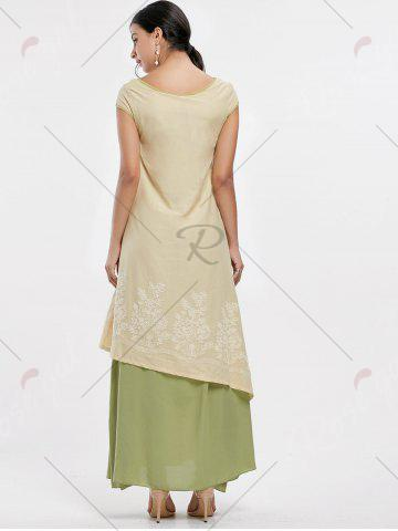 Discount Asymmetrical Embroidered Linen Maxi Dress - M PALOMINO Mobile