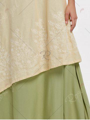 Buy Asymmetrical Embroidered Linen Maxi Dress - M PALOMINO Mobile