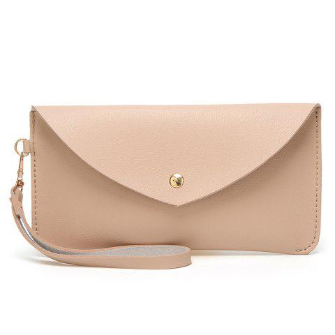 Faux Leather Wristlet Clutch Bag Rose Abricot