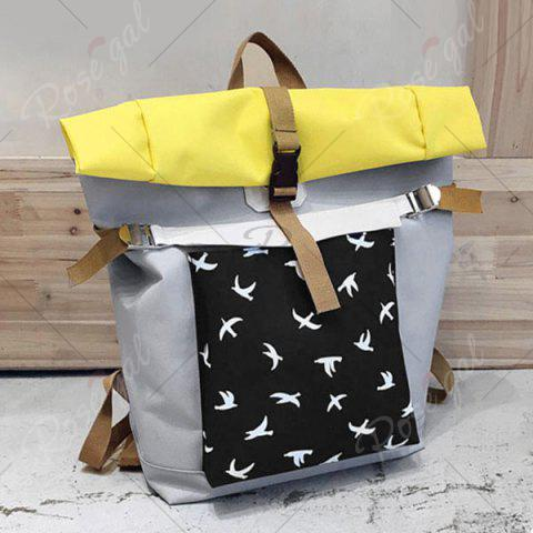 Shops Casual Nylon Bird Print Backpack - GRAY  Mobile