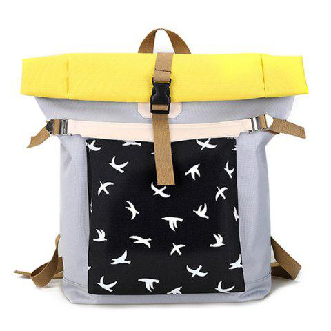 Hot Casual Nylon Bird Print Backpack GRAY