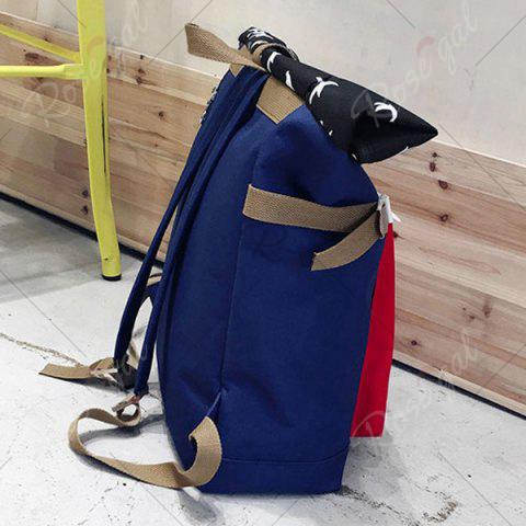 Outfit Casual Nylon Bird Print Backpack - BLUE  Mobile