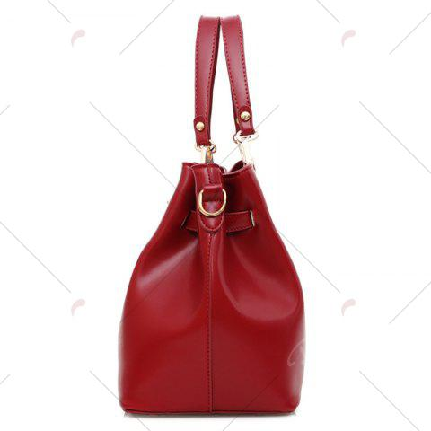 Store Faux Leather 3 Pieces Tote Bag Set - WINE RED  Mobile