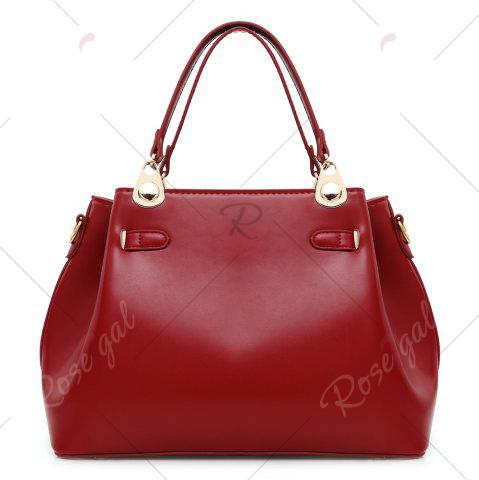 Shop Faux Leather 3 Pieces Tote Bag Set - WINE RED  Mobile