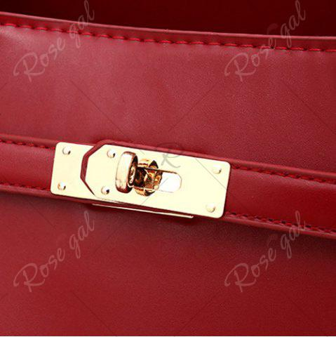 Fashion Faux Leather 3 Pieces Tote Bag Set - WINE RED  Mobile