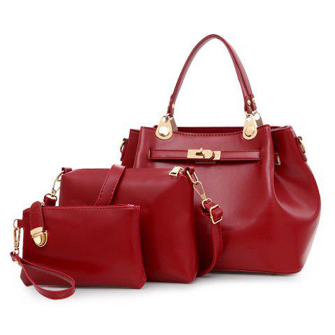 Faux Leather 3 Pieces Tote Bag Set Rouge vineux