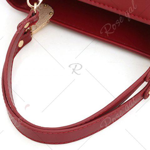 Hot Faux Leather 3 Pieces Tote Bag Set - WINE RED  Mobile