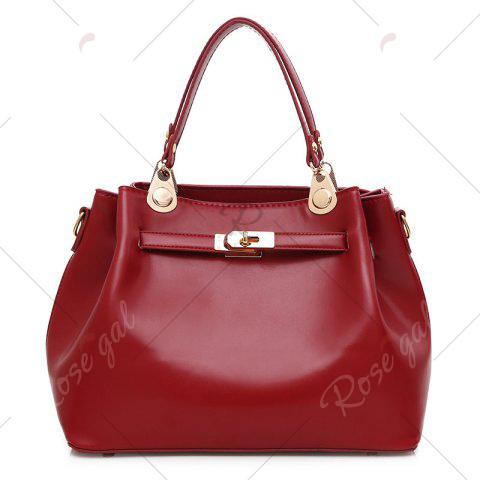 Online Faux Leather 3 Pieces Tote Bag Set - WINE RED  Mobile