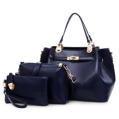 Shop Faux Leather 3 Pieces Tote Bag Set - DEEP BLUE  Mobile